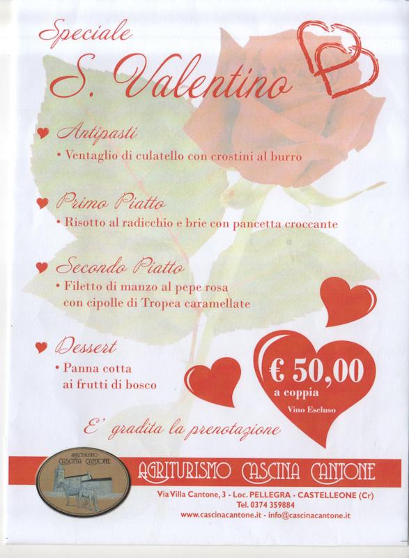Menù San Valentino 2020 Cascina Cantone